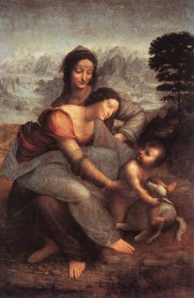 Leonardo: Madonna and Child with St. Anne. Again, another strange, rocky background.