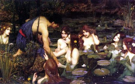 Hylas and the Nymphs, a famous painting by John Williams Waterhouse, ca. 1900.