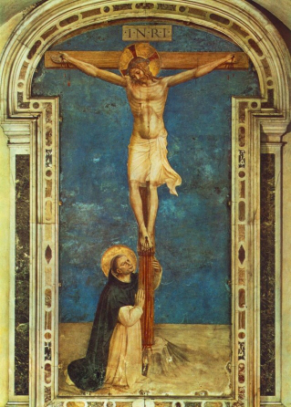 St. Dominic at the foot of the cross, by Fra Angelico