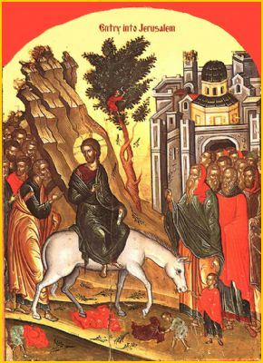 Byzantine icon of Jesus entering Jerusalem on Palm Sunday