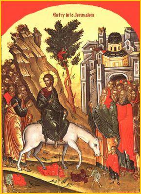 Byzantine icon of Jesus entering Jerusalem on Palm Sunday