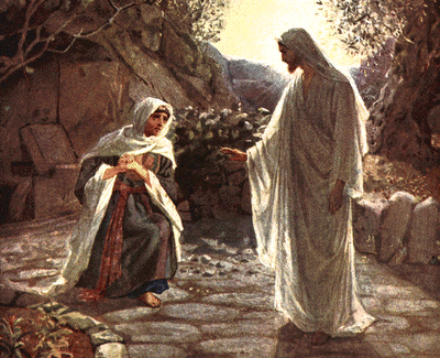 Easter morning: The risen Jesus meets Mary Magdalene outside the tomb.