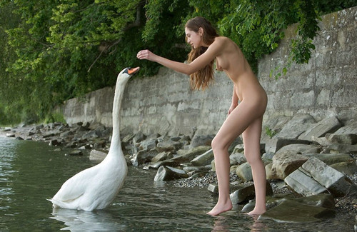This photo reminds of the famous Greek myth of Leda and the Swan.