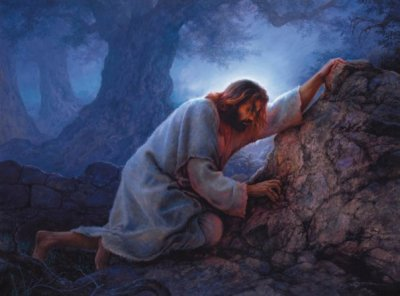 Jesus in the garden of Gethsemane, the first of the sorrowful mysteries we pray in the rosary.