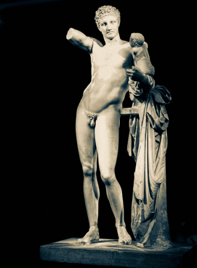 Hermes with the Infant Dionysius, by Praxiteles.