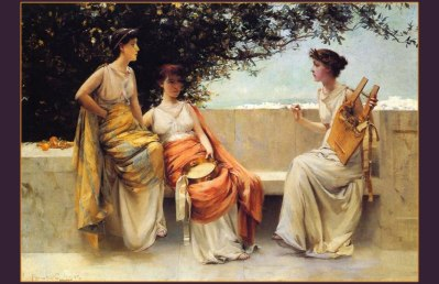 Sappho, with the lyre, and her circle...