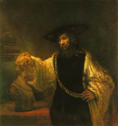Aristotle contemplating the bust of Homer, by Rembrandt.