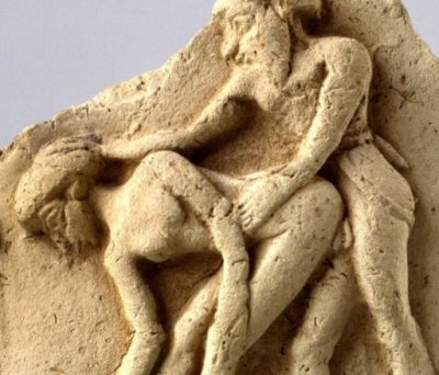 Erotic clay tablet from Mesopotamia, ca. 2000 BC.