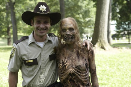 Rick and his new bff zombie from next's season's Walking Dead.