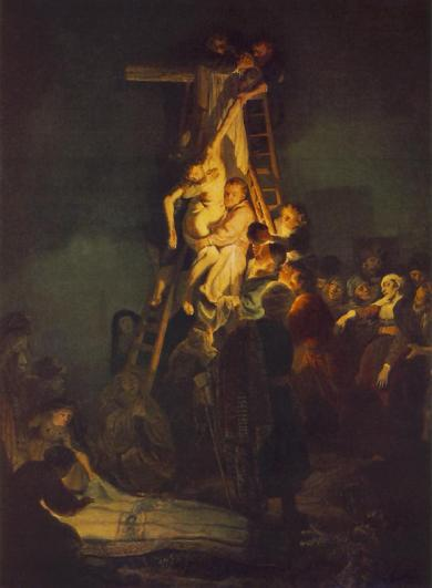 Jesus being taken off the cross, by Rembrandt