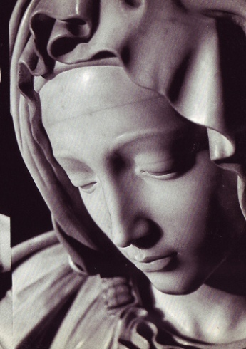 The beautiful calm of Mary's face belies the tragedy of the scene, the death of Christ.