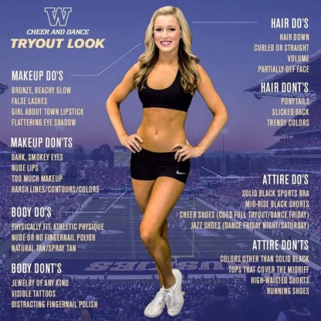 University of Washington cheerleader tryout advert.