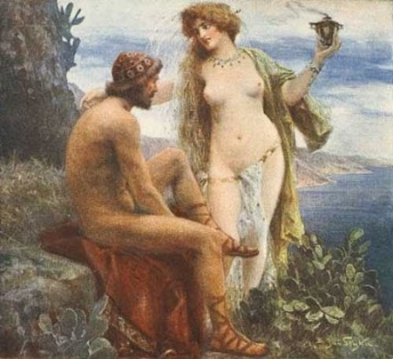 Odysseus and the nymph Calypso.