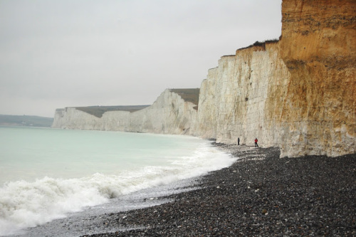 The white cliffs of Dover Beach in England.